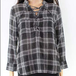Madewell Black Plaid Lace-up top